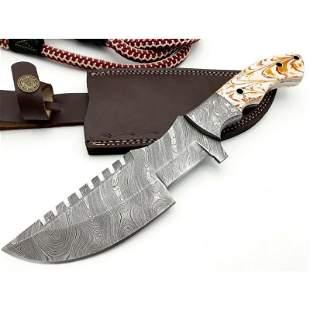 Tracker damascus steel knife full tang micarta