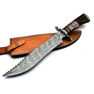 Hunting work damascus steel knife bone rose wood