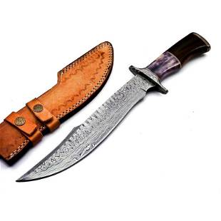 Bowie work damascus steel knife marindi wood bone