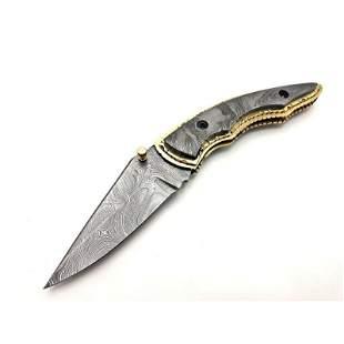 Knife damascus steel brass handle hunting handmade
