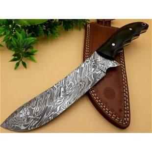 Handmade damascus steel knife bowie micarta leather