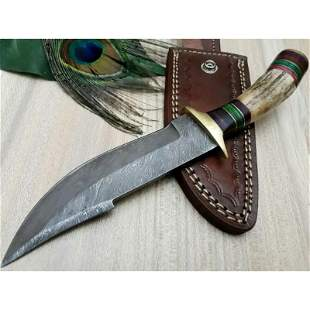 Camping hiking hunting damascus steel knife stag antler