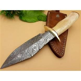 Camping damascus steel knife bowie camel bone brass