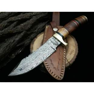 Bowie combat full tang hunting damascus steel knife