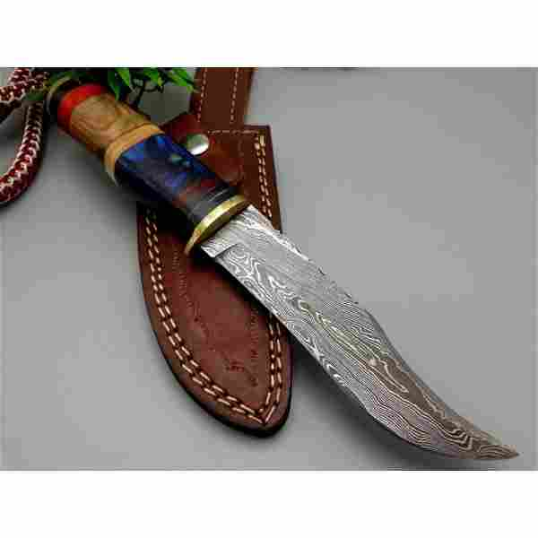 Everyday carry hunting hiking damascus steel knife wood