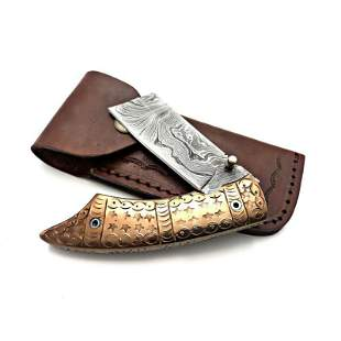 Everyday carry folding work hunting damascus steel