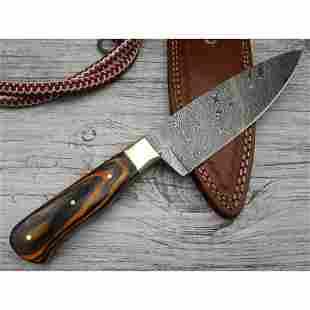 Kitchen chef work damascus steel knife multi wood brass