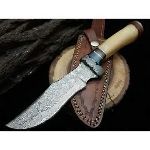 Camping damascus steel knife bone wood brass leather