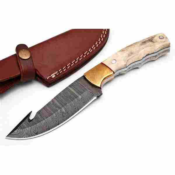 Hunting work damascus steel knife handmade stag horn