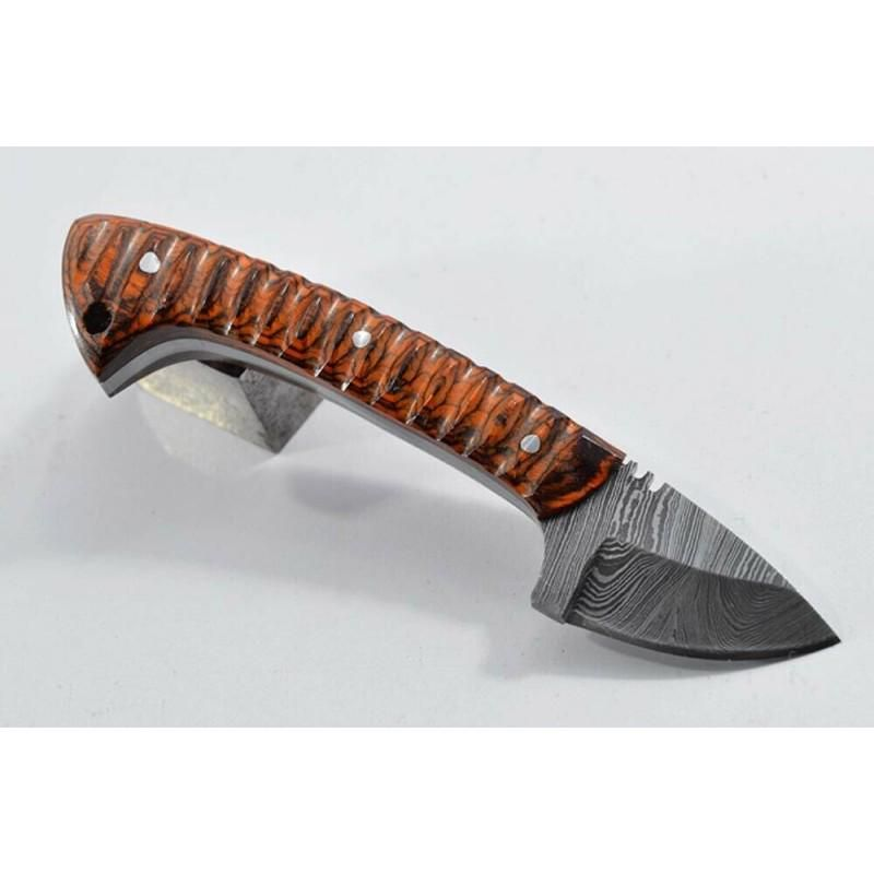 Full tang damascus steel knife hunting wood leather
