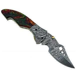 Hunting folding hiking damascus steel knife camping