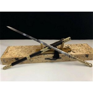 Glaive everyday carry damascus steel sword brass saber
