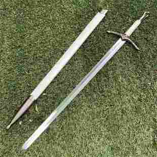 Camping stainless steel sword hunting leather blade