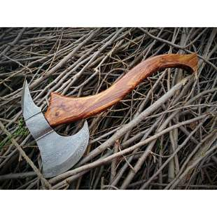 Wild life damascus steel viking axe rose wood