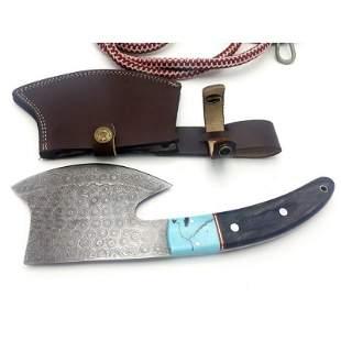 Hatchet damascus steel axe out door pakka wood