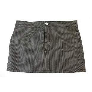 Chloe Black & Gray Stripes Denim Like Short Mini Skirt