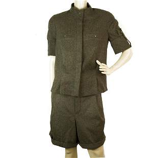 Chloe Gray Green Wool Button Shirt Top and Bermuda