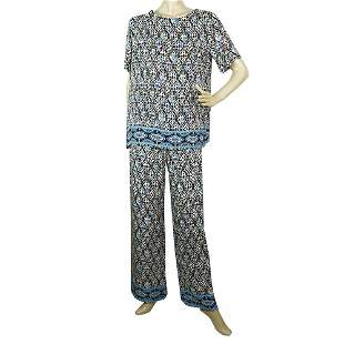 Fuzzi Blue & Black Pattern Tunic Top and Pants Trousers