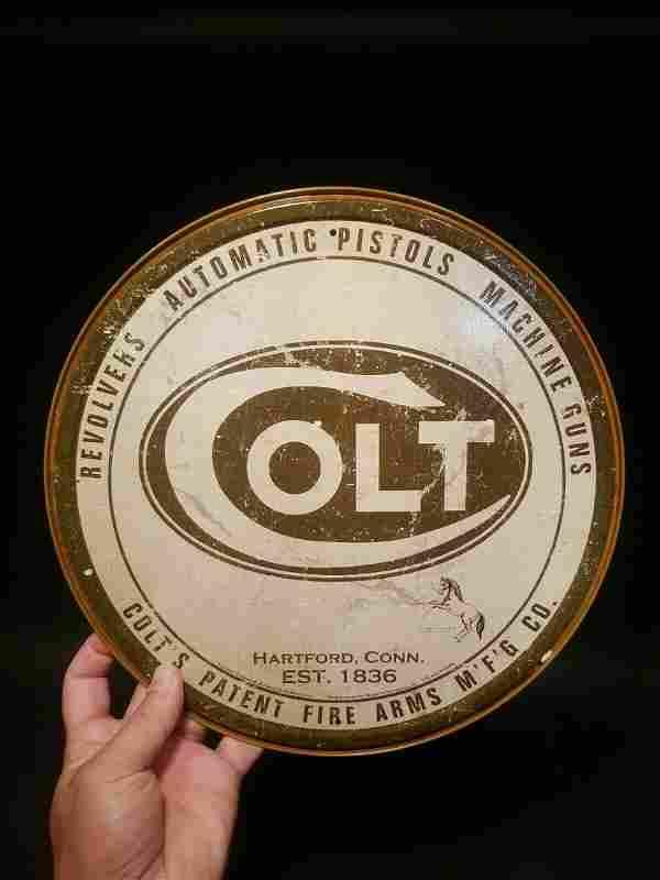 "Colt"" Fire Arms Classic Gun Ammo Sign"