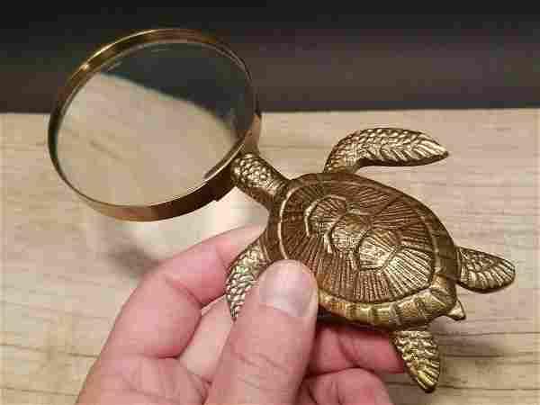 Brass Sea Turtle Magnifying Glass Desk Hand Lens