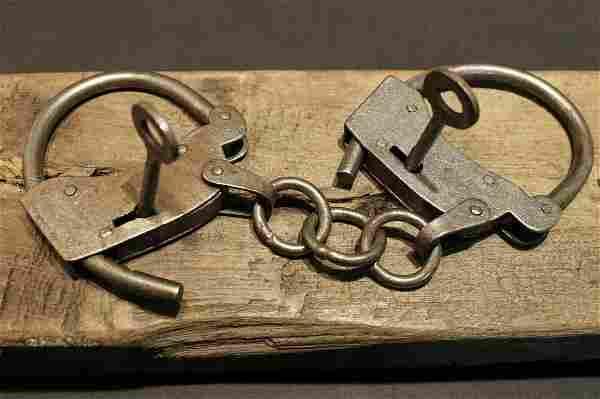 Wrought Iron Handmade Handcuffs Shackles