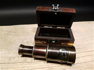 Victorian Marine Wood Box w Telescope
