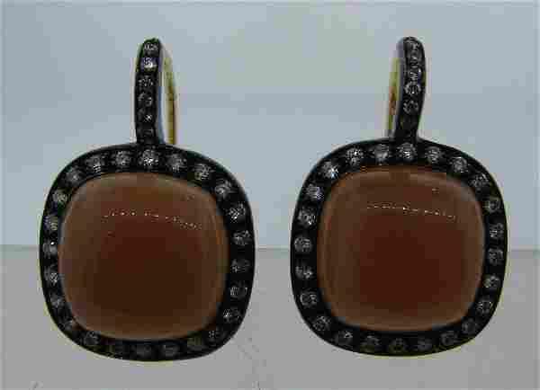 CHIC 18k Yellow Gold, Moonstone & Diamond Earrings Made