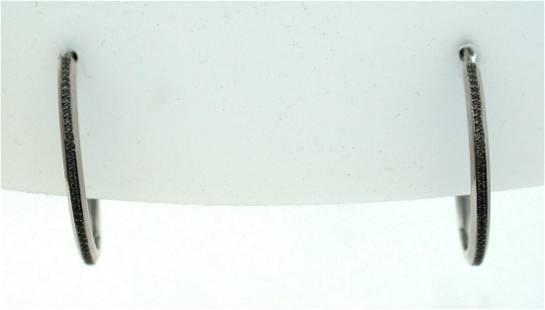C.1990 14 KT WHITE GOLD DIAMOND HOOP EARRINGS 1.20CTS