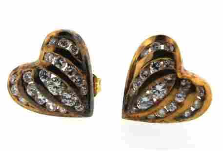 CUTESIE 14k Yellow Gold & Diamond Heart Shaped Earrings