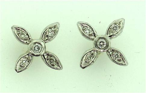 LOVELY PLATINUM WHITE GOLD DIAMOND EARRINGS STAMPED