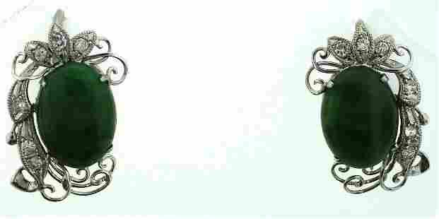 FABULOUS 14K WHITE GOLD DIAMOND APPLE JADE EARRINGS