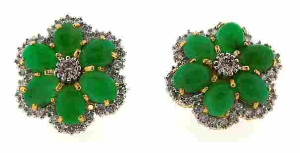 EXTRAORDINARY 18k Yellow Gold, Jade & Diamond Flower