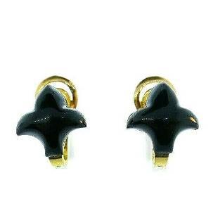 FRENCH 18k Yellow Gold & Onyx Fleur De Lis Motif