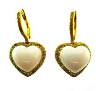 LOVE ME 18k Yellow Gold, Coral & Yellow Diamond Heart