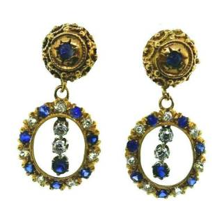 ANTIQUE 14k Yellow Gold, Diamond & Sapphire Dangle