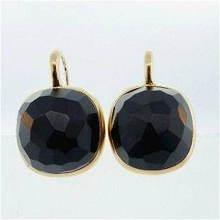 18k Yellow Gold Carved Onyx Earrings