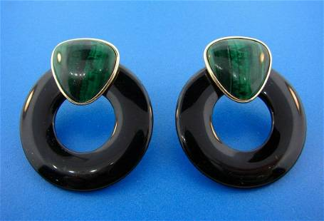 CHIC 14k Yellow Gold, Onyx & Malachite Earrings