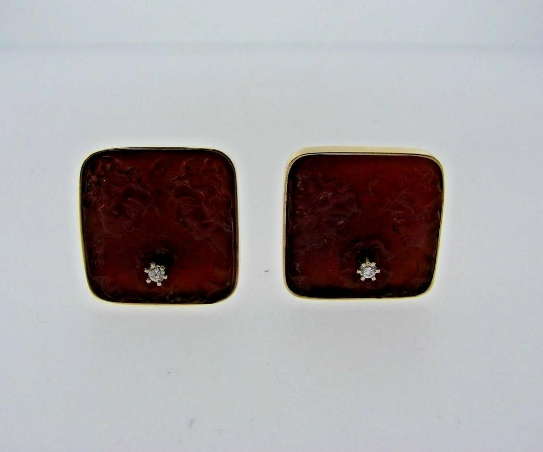 CHIC 14k Yellow Gold, Diamond & Carnelian Earrings