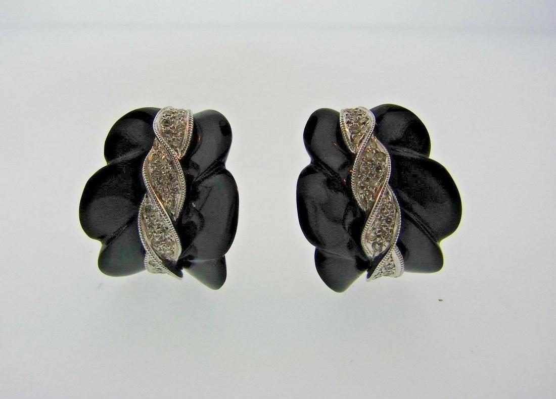 CHIC European 18k White Gold, Diamond & Onyx Earrings