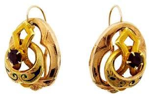 WOW Victorian 14k Yellow Gold, Ruby & Enamel Earrings