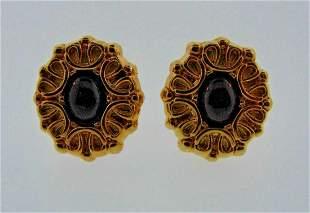 CHIC Italian 14k Yellow Gold & Garnet Clip On Earrings