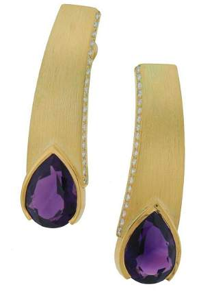 THIERRY VENDOME Amethyst 18k Yellow Gold EARRINGS