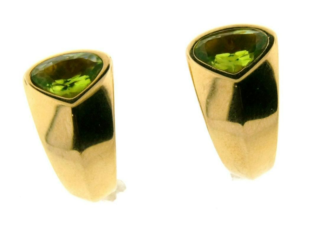 CHIC Marina B. 18k Yellow Gold & Peridot Earrings Circa