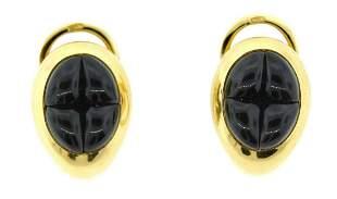 CHIC Pomellato 18k Yellow Gold & Garnet Earrings!