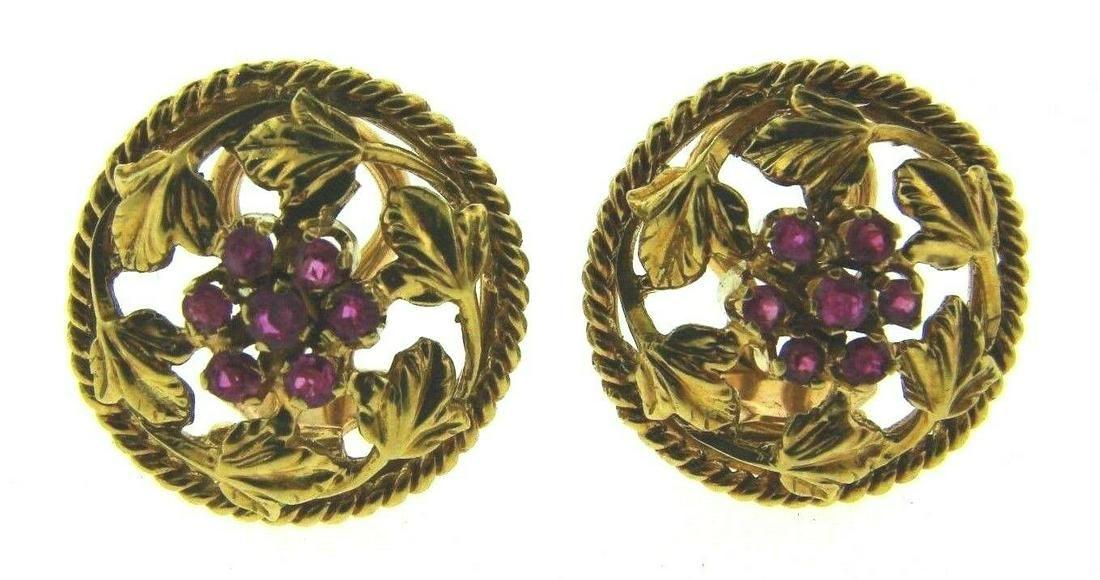 CUTE 18k Yellow Gold & Ruby Flower Earrings
