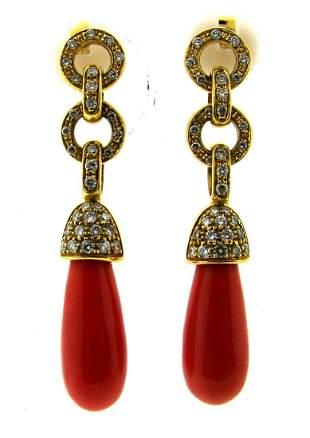 GORGEOUS 18K YELLOW GOLD CORAL DANGLE EARRINGS DIAMOND