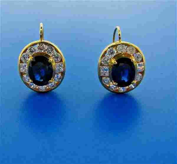 GORGEOUS 18k Yellow Gold, Sapphire & Diamond Earrings
