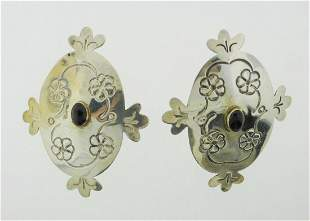 FUNKY Sterling Silver & Onyx Earrings Circa 1970!