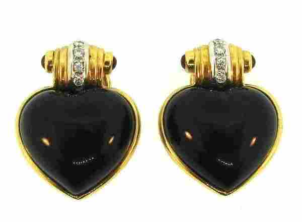 GROOVY 18k Yellow Gold, Diamond, Onyx & Cabochon Ruby