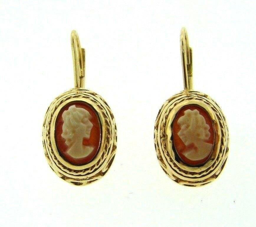 VINTAGE ADORABLE 14K YELLOW GOLD WIRE CAMEO EARRINGS